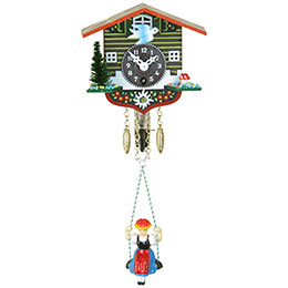 Black Forest Swinging Doll Clock 1-day-spring movement 10cm by Trenkle Uhren