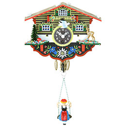 Black Forest Swinging Doll Clock 1-day-spring movement 14cm by Trenkle Uhren