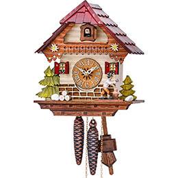 Cuckoo Clock 1-day-movement Chalet-Style 25cm by Hekas