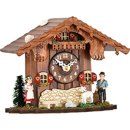 Cuckoo Clock Kuckulino Quartz-movement Chalet-Style 12cm by Trenkle Uhren