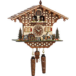 Cuckoo Clock Quartz-movement Chalet-Style 38cm by Trenkle Uhren